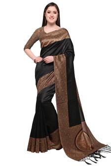b363531be33 Black printed art silk saree with blouse