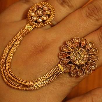 Polki Gold Look Designer Adjustable Ring