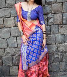 Pink woven patola saree with blouse great-indian-saree-festival