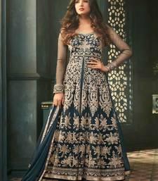 Buy Teal embroidered net salwar suit sharara online