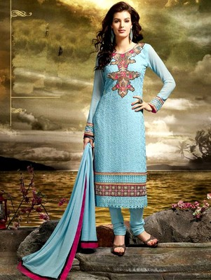 Blue embroidered bamberg semi stitched salwar with dupatta