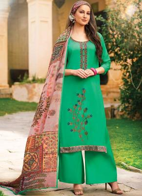 Parrot Green Resham Embroidery Lawn Semi Stitched Salwar With Dupatta