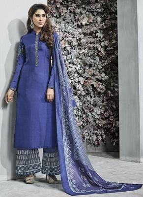 Blue Resham Embroidery Jacquard Semi Stitched Salwar With Dupatta