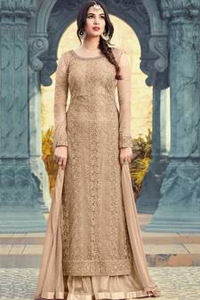 95b3ebadf8 beige embroidered net semi stitched salwar with dupatta. Shop Now