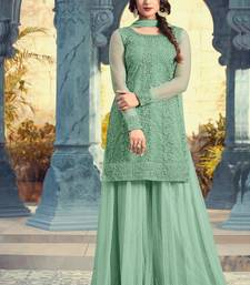Buy sky blue embroidered net semi stitched salwar with dupatta palazzo online