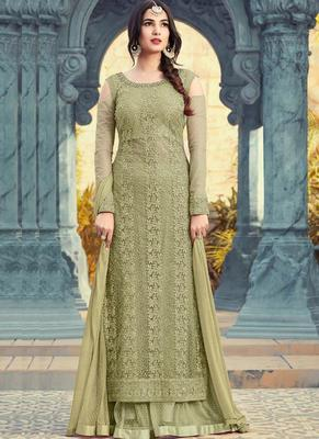 lime embroidered net semi stitched salwar with dupatta