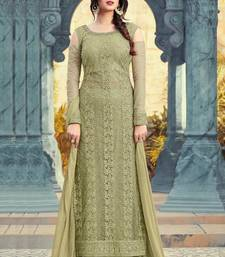 Buy lime embroidered net semi stitched salwar with dupatta net-salwar-suit online