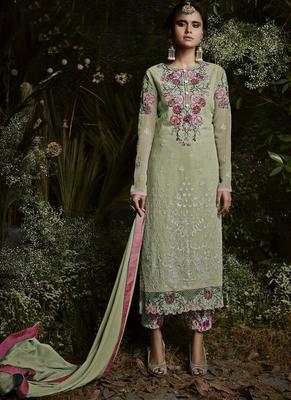 lime embroidered georgette semi stitched salwar with dupatta