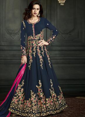 navy blue embroidered georgette semi stitched Anarkali Suit