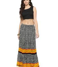 Buy Black Cotton Beautiful hand printed jaipuri skirts skirt online