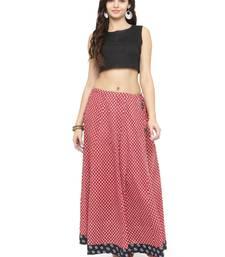 Buy Red Cotton Beautiful hand printed jaipuri skirts skirt online