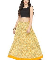 Buy Light Yellow Cotton Beautiful hand printed jaipuri skirts skirt online