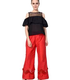 Red Cotton Silk casual palazzo pants