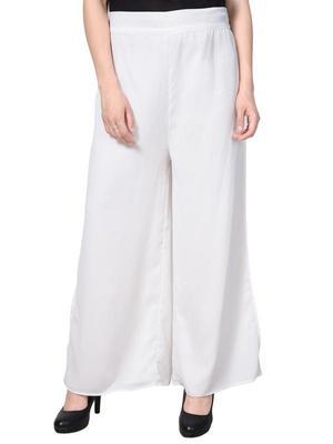 White Georette casual palazzo pants