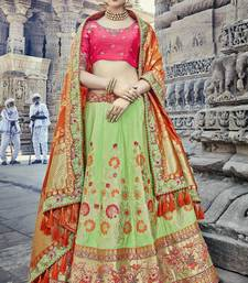 Parrot-green embroidered silk semi stitched lehenga