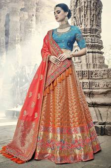 31ea01e0f4 Orange Lehengas Online | Buy Orange Color Lehenga Designs ...