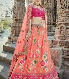 Coral embroidered silk semi stitched lehenga