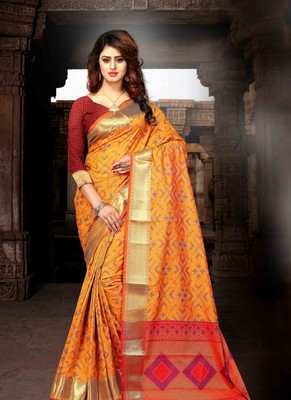 b6e0b495d53415 Mustard colour Patola Heavy Banarasi Silk Saree with unstitched blouse -  Disha - 2626652