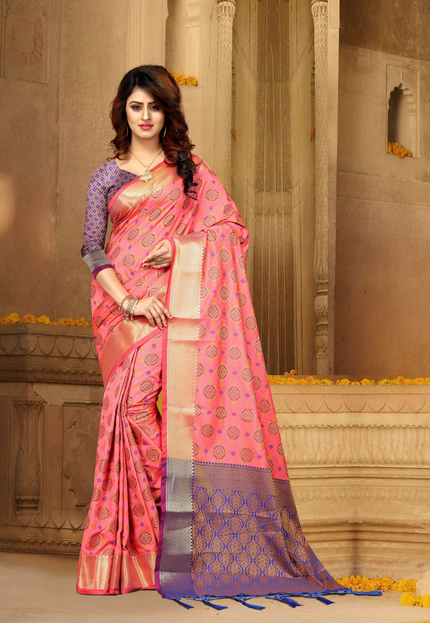 a12d421e8bae2d Light Pink colour Patola Heavy Banarasi Silk Saree with unstitched blouse -  Disha - 2626679