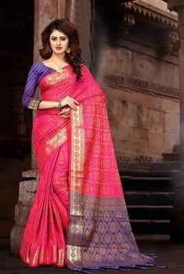 c07de20ba7 Hot Pink colour Patola Heavy Banarasi Silk Saree with unstitch blouse