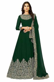 094e89a461 Green embroidered georgette Anarkali Suit
