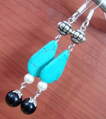 Turquoise and Black Earrings