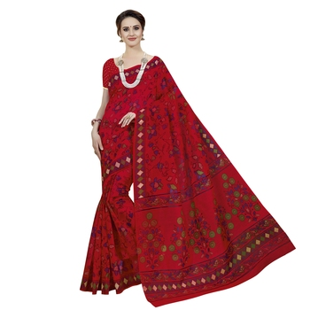 Blood red printed cotton saree with blouse