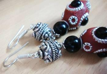 Brown and Black Earrings