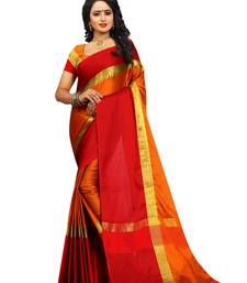 Buy Orange cotton silk woven saree with blouse below-500 online