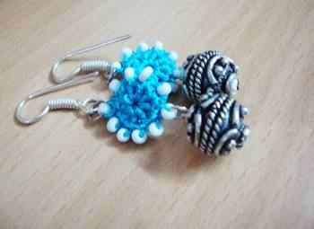 Crochet and German Silver Earrings