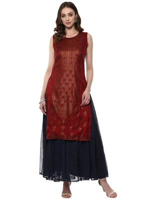 Red printed polyester kurta