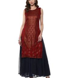 Red printed polyester kurta