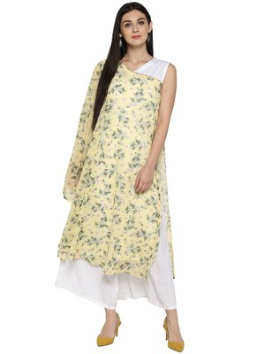 Light-yellow printed georgette kurta