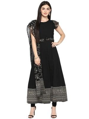 Black printed crepe kurta