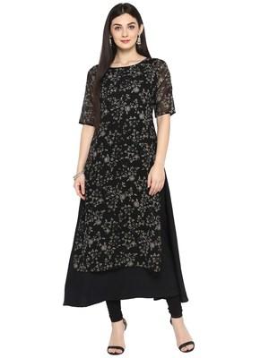 Black printed georgette kurta