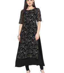 Buy Black printed georgette kurta ethnic-kurtis online