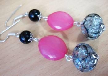 Pink an Black Earrings