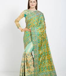 Buy Green color silk jacquard and lycra saree with blouse heavy-work-saree online