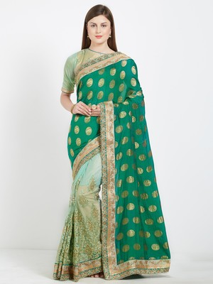 Green color lycra and silk saree with blouse