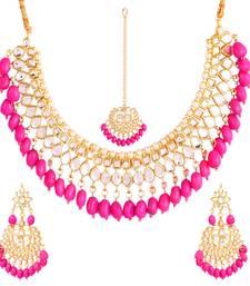 Pink kundan rose gold necklace sets
