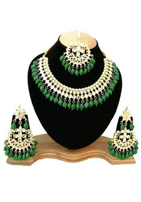 2a317ab087507a Green kundan rose gold necklace sets - Quail - 2628399
