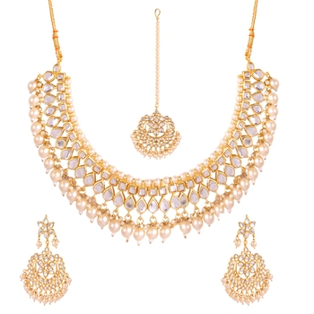 bc883ac9b6dfbb White kundan rose gold necklace sets - Quail - 2628401