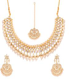 Buy White kundan rose gold necklace sets women-ethnic-wear online