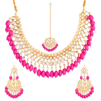 Baby Pink Deep-Neck Necklace with Gold Earrings