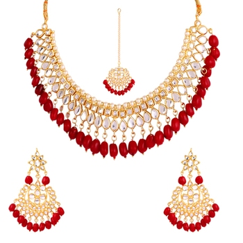 Red kundan rose gold necklace sets