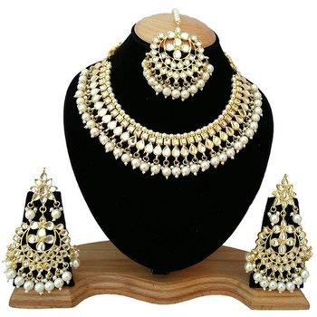 White kundan rose gold necklace sets