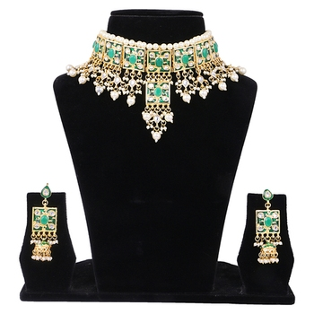 4a78c7656e8153 Green kundan rose gold necklace sets - Quail - 2628431