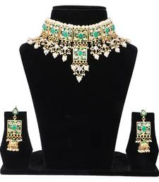 Buy Green kundan rose gold necklace sets women-ethnic-wear online