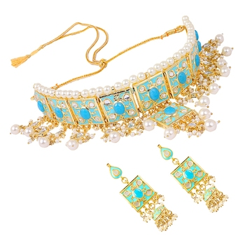 59f5b482cea83f Turquoise kundan rose gold necklace sets - Quail - 2628434
