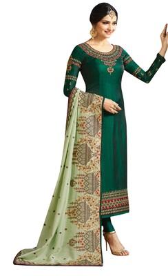 Green resham embroidery silk salwar